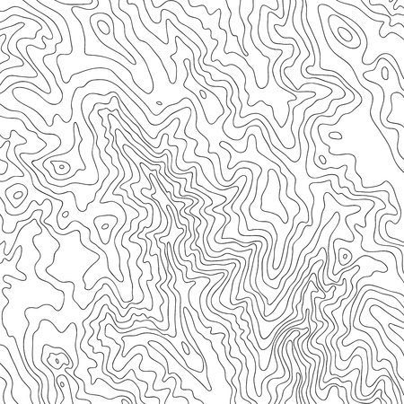 Topographic map, black line on white vector