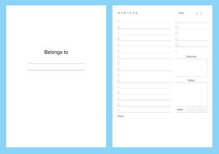 Planner kit, template pages, to do, vector