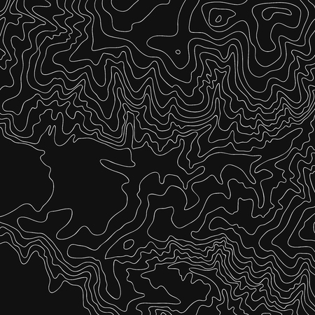 Topographic map, white on black vector