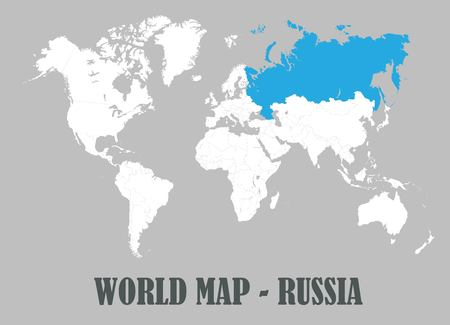 World map, all countries, white color vector Çizim