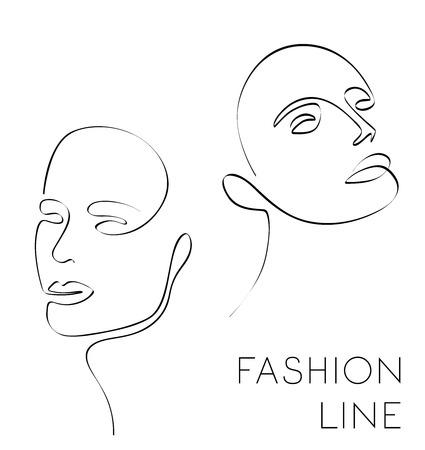 One line fashion illustration, female face, vector