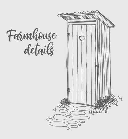 Restroom in the village, rural illustration, vector