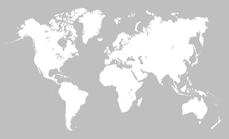 World map, simple planet sign vector Çizim