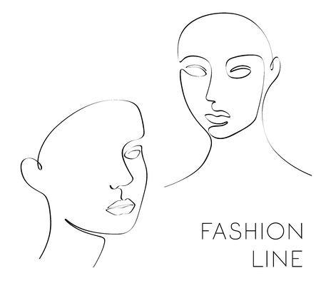 Illustration de mode une ligne, visage féminin, vecteur