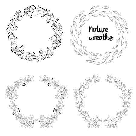 Nature wreaths, set of black illustrations, vector