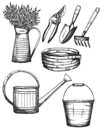 Garden tools, hand drawn illustrations, vector Çizim