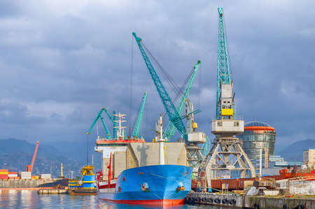 International sea transportation and logistics. Seaport in Batumi - cargo transportation vessels and assembly, reloading cranes.