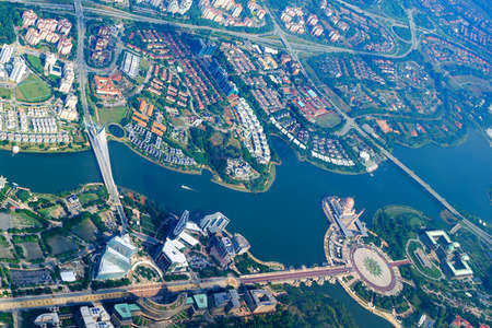 Overhead city view of Putrajaya - Putra lake, Seri Saujana Bridge, Prime Minister's Department Complex, Federal Government Administrative Centre, Putra Mosque. Aerial cityscape, Malaysia.