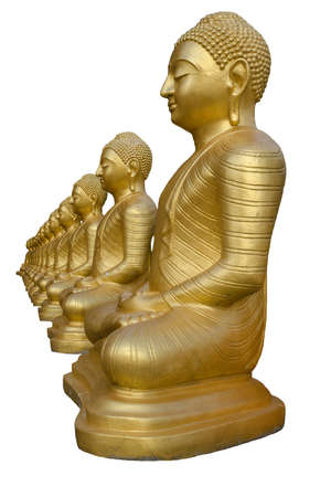 Row of golden Buddha statues, isolated on white background. Temple in Sri Lanka, Matara. Vertical photo.