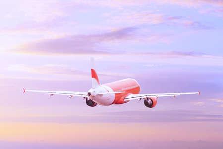 Volo aereo nel cielo viola sbiadito al tramonto. Logistica aerea dell'aeromobile Tonica con colori caldi.