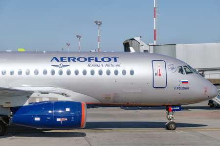 Nose of the aircraft of Russian airline Aeroflot on the apron at the airport. Side view. Russia, Rostov-on-Don, Platov Airport, 2019-04-10