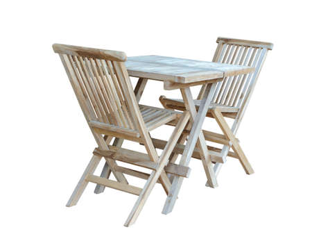Set of folding wooden furniture for the garden or kitchen, isolated on a white background.  Reklamní fotografie