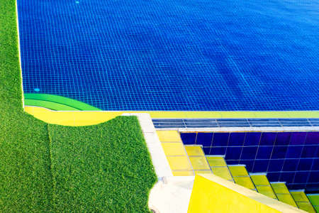 Bright color background from pool side. Colorful abstract architecture Reklamní fotografie