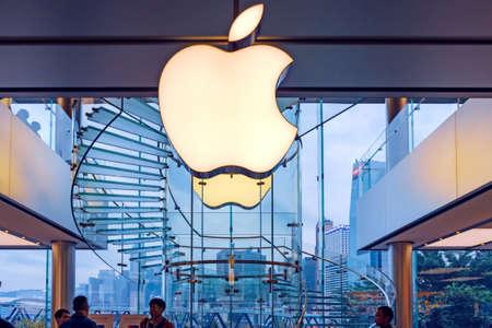 Logo of Apple Inc. on a Mac store. Hong Kong, 2018-03-14 Redakční