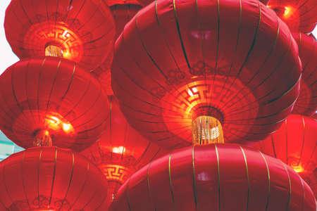 Many large chinese lanterns close-up.