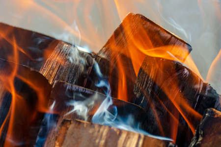 Close up burning firewood.
