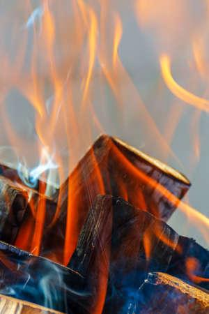 Burning logs close up. Vertical photo