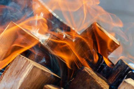 Burning firewood close up. Banco de Imagens