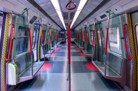 Nobody in metro car.  The losses of the transport industry during quarantine. The work of public transport during self-isolation.