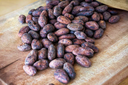 Roasted cocoa beans sprinkled on a wooden background. Organic cocoa for preparing chocolate