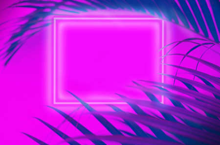 Creative background of neon palm leaves and glowing square. Jungle summer concept.  Defocused blurred photo