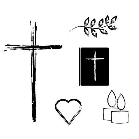 기독교 종교 기호 및 기호 벡터 아이콘을 설정