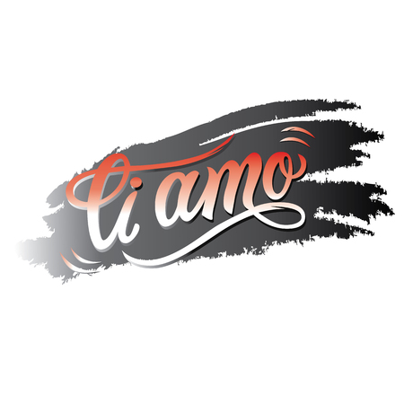 Hand-lettering illustration of text ti amo - italian i love you.