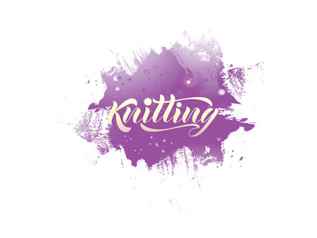 Vector lettering of the word Knitting. Modern calligraphy. As template of logotype of yarn store, label, icon, tag, banner. Calligraphy background. Inscription for packing product to store, for journal.