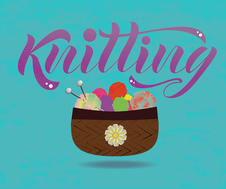 Vector lettering of the word Knitting. Modern calligraphy. As template of logotype of yarn store, label, icon, tag,  banner. Calligraphy background. Inscription for packing product to store, for journal. Illustration