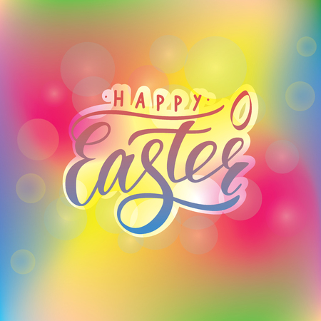 Vector lettering of  text Happy easter with small decor of shape of egg. Modern calligraphy. As template of greeting card, label, icon, tag,  banner. Calligraphy background. Inscription for packing product, for journal.