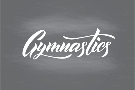 Vector lettering of  word Gymnastics. Modern calligraphy. Template of logotype, label, icon, tag,  banner; poster. Calligraphy background. Inscription  for journal. Foto de archivo - 98267494