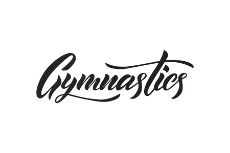 Vector lettering of  word Gymnastics. Modern calligraphy. Template of logotype, label, icon, tag,  banner; poster. Calligraphy background. Inscription  for journal.