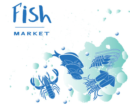 Seafood collection. With fish, oyster, lobster, shrimp, squid. As template of menu of fish market, restaurant; label, icon, tag, banner, background, business card. Drawing for packing product to store, for journal. Seafood flat style cartoon illustration.