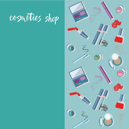 Vector illustration of cosmetics product. With text cosmetics shop. Cosmetics product. As template of background, postcard, bisness card, print, logo, for cosmetics shop. Flat drawing for journal.