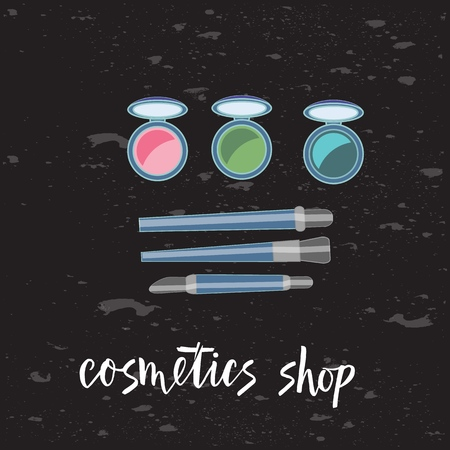 Vector illustration of brushes and eyeshadow on chalkbourd. With text cosmetics. Cosmetics product. As template of background, postcard, bisness card, print, logo, for cosmetics shop. Flat drawing for journal. Illusztráció