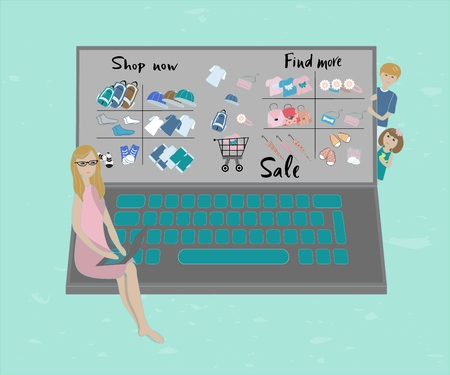 illustration of mother buying in the internet shop with abstract computer. Young mom sit on the abstract computer, showing baby clothes, with a computer. Baby and boy look at their mom. With text Shop now, find more, sale.
