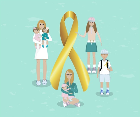 Flat illustration of golden tape symbolizing involvement in the problem of childhood cancer. With people children, mother with baby, nurse with baby . Ribbon for the World Children s Day cancer patients. Design template poster, banner,flayer,web.