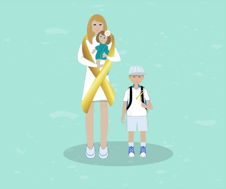 Flat illustration of golden tape symbolizing involvement in the problem of childhood cancer, tied up like a scarf. With nurse with baby and a boy. Ribbon for the World Children s Day cancer patients. Design template poster, banner,flayer,web.