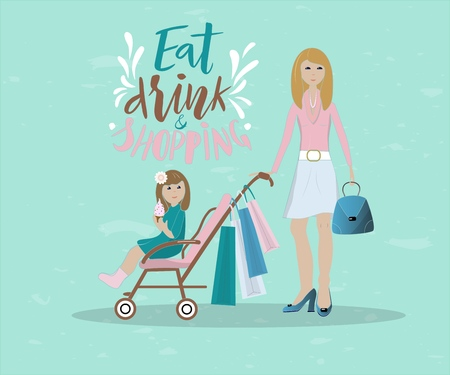 illustration of mother and her baby shopping. Baby is in a baby carriage with ice cream. Mom holding a bag . inscription eat drink and shopping. Concept of shopping with baby. As banner, poster, card. Stock Illustratie