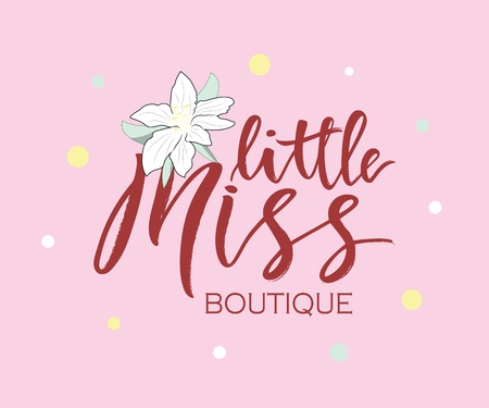 Hand lettering of phrase little miss boutique with flower. Inscription to print on babies clothes, nursery decorations bags, posters, invitations, cards, pillows, etc. . Vector illustration. Photo overlay. As logotype for shop, for package product.