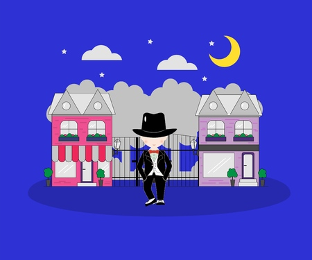 Little boy wearing suit and black top hat on against the background of the city.Young gentleman dressed up in classic retro style vector Illustration. With red bow tie.