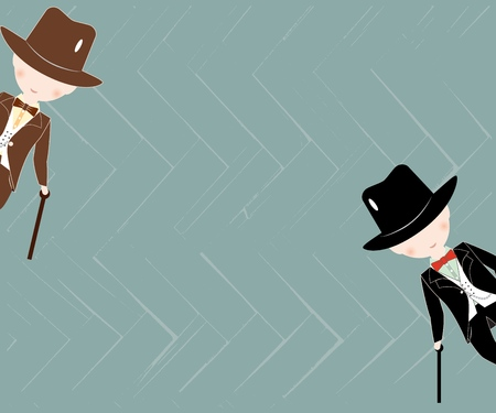 Background with texture with cartoon little boys wearing suit and top hats. Young gentlemans dressed up in classic retro style vector Illustration. With bow tie. As template for overlay, notebook, card.  イラスト・ベクター素材