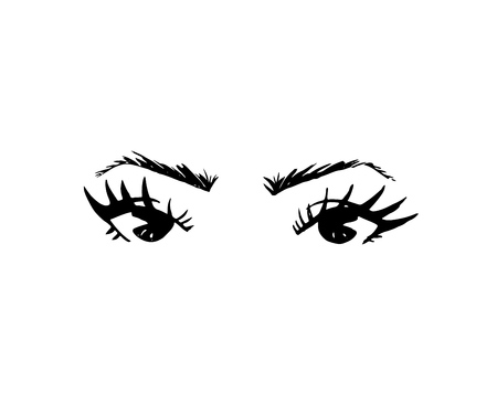 Illustration of hand-drawn womans eyes with shaped eyebrows and full lashes. Element of logo for business visit card, typography vector, Perfect salon look. Black color Banque d'images - 108650950