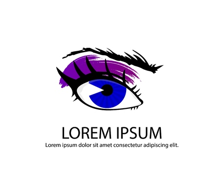 Illustration of hand-drawn colorful womans eyes with shaped eyebrows and full lashes and mascara, eyeliner, eye shadow. Element of logo for business visit card, typography vector, Perfect salon look. Icon for journal. Banque d'images - 108650999