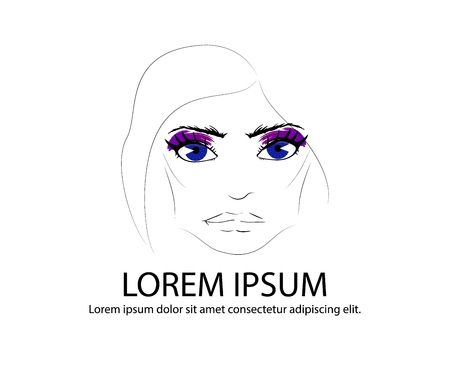 Illustration of hand-drawn womans eyes with shaped eyebrows and full lashes. Element of logo for business visit card, typography vector, Perfect salon look. Black color Banque d'images - 108651002