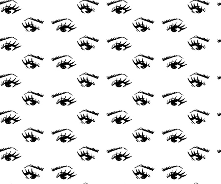 Seamless pattern of hand-drawn woman s eyes with shaped eyebrows. For business visit card, typography vector. As print for clothes, bags, towel, banner, background. Иллюстрация