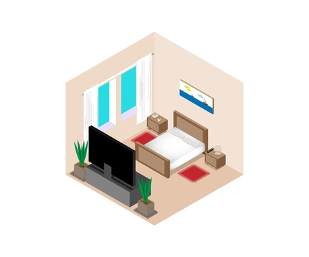 Isometric vector bedroom illustration. Bed, TV, indoor flowers, picture window curtains nightstands Ilustração