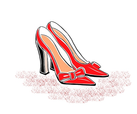 Hand drawin classic red shoes on a high heel. Vector illustration. Element for logo of shoes shop. Print. Isolated. 矢量图像