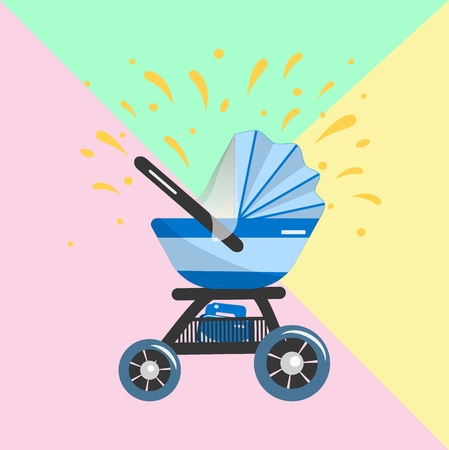 Illustration of blue Baby stroller for baby boy with bag in basket. Vector icon. Print for clothes, bags, postcard, element of logo for baby shop. Vectores