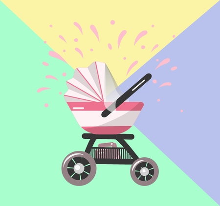 Illustration of Pink Baby stroller for baby girl with bag in basket. Vector icon. Print for clothes, bags, postcard, element of logo for baby shop.